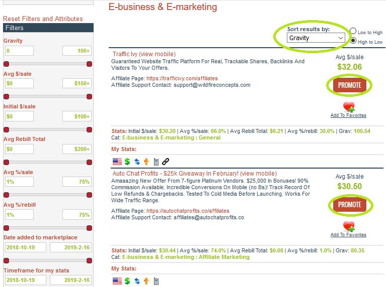 ClickBank filtrar por gravedad