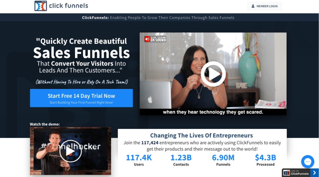 clickfunnels homepage