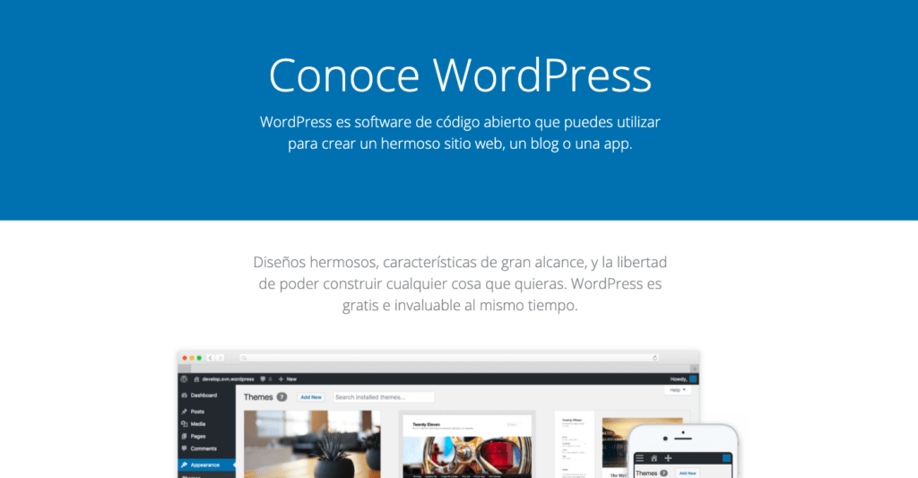 página principal de wordpress