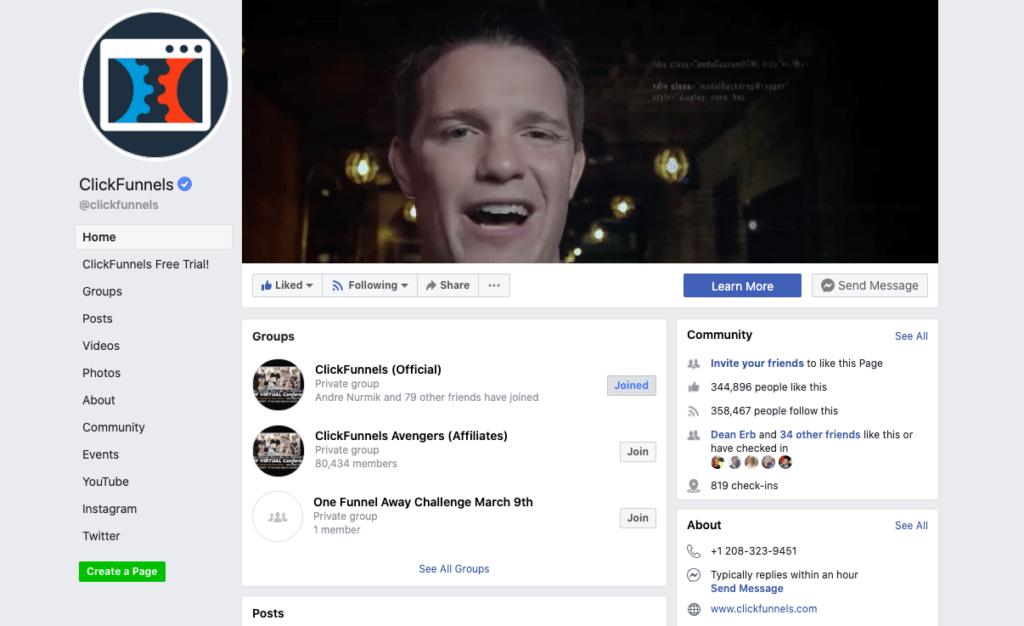 Página de Facebook de ClickFunnels