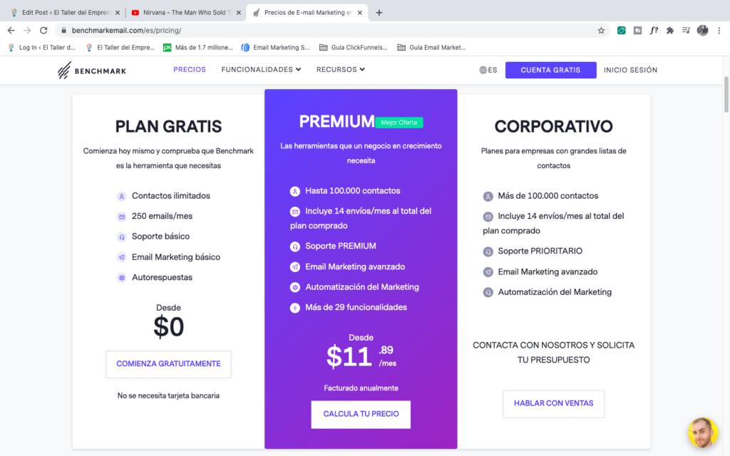 Página de precios de Benchmark
