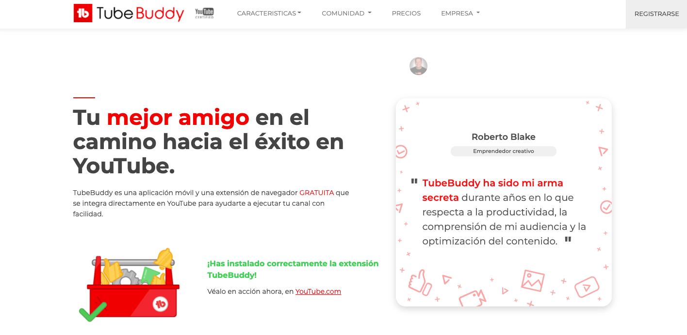 TubeBuddy página principal