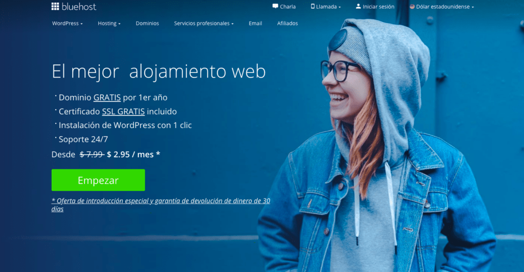 Bluehost página principal español