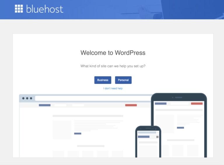 Bluehost WordPress página de bienvenida