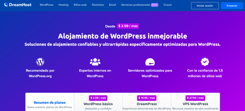 Dreamhost recomendado por WordPress