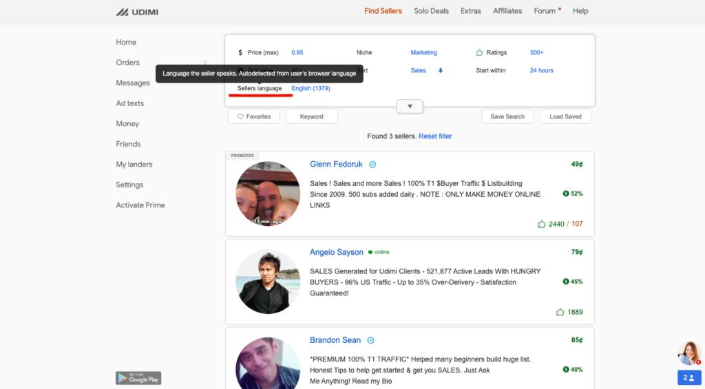 Filtro de lenguaje de vendedores en panel de usuario de Udimi