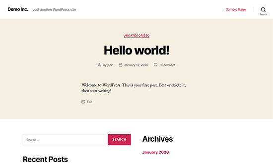 Wordpress Hello world ejemplo