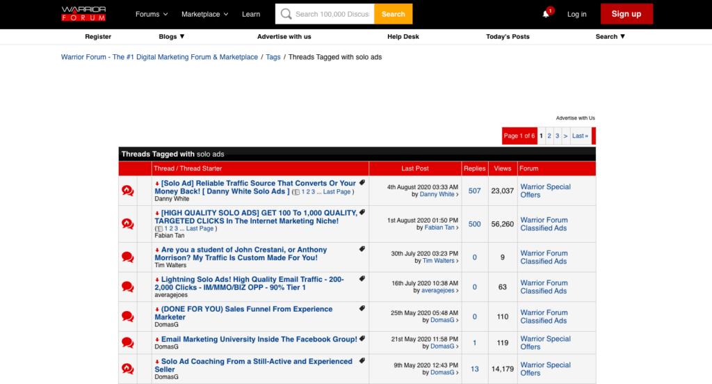 Warrior forum para compra y venta de Solo Ads