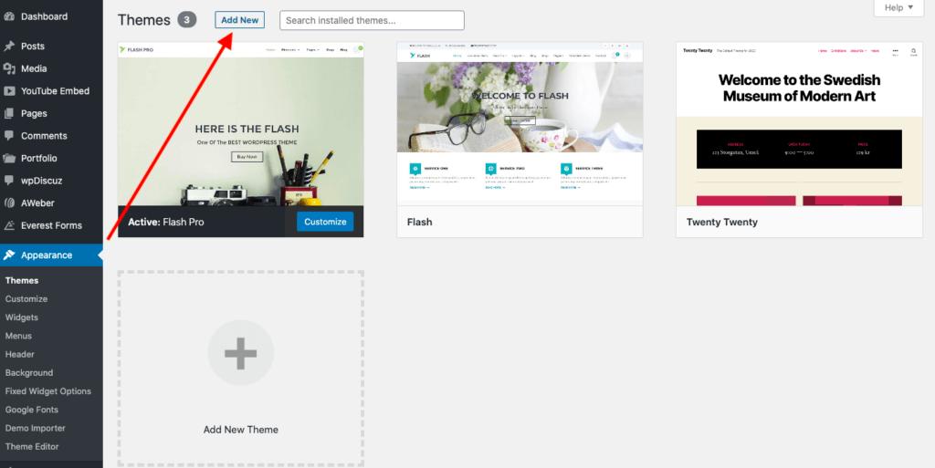 Wordpress añadir nuevo tema.