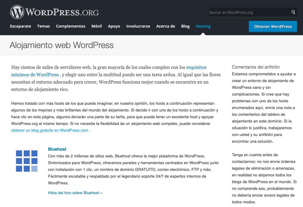 Recomendaciones de Web Hosting de WordPress