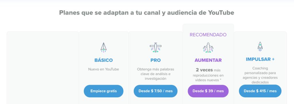 VidIq precios de planes español