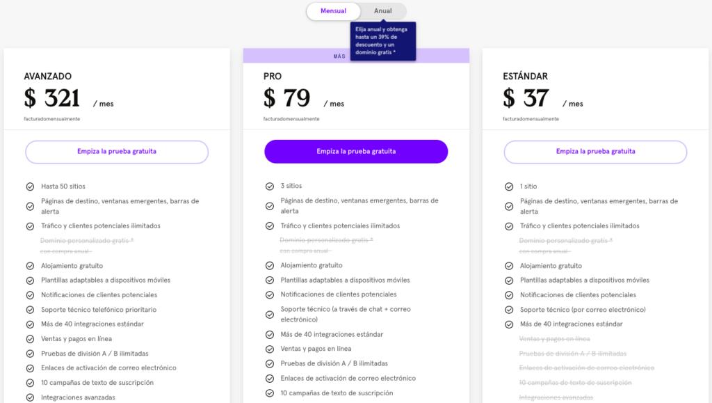 Leadpages página de precios