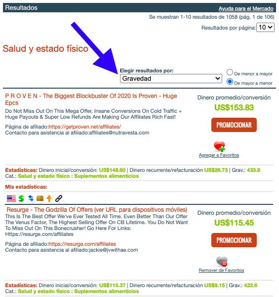ClickBank - Ordenar por Gravedad
