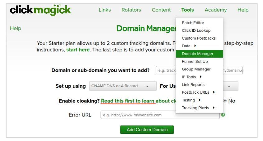 ClickMagick - Administrador de Dominios