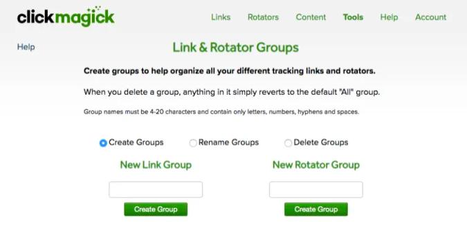 ClickMagick Grupos de Enlaces