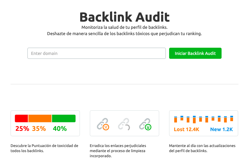 Auditoría de backlinks en SEMrush