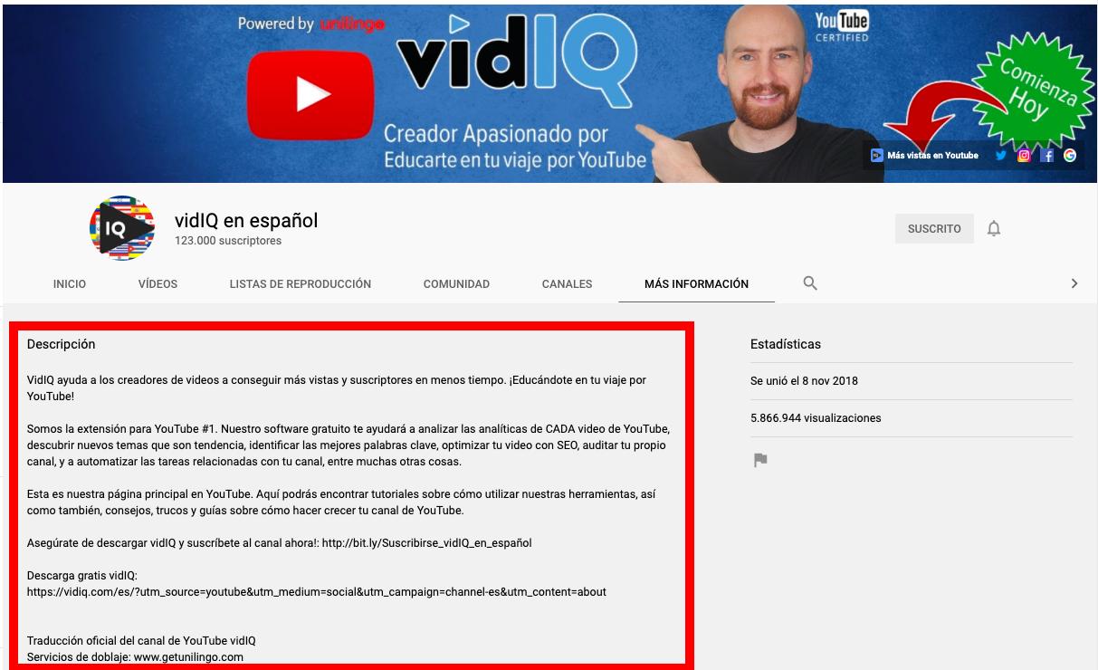 Descripción de canal de VidIQ en español