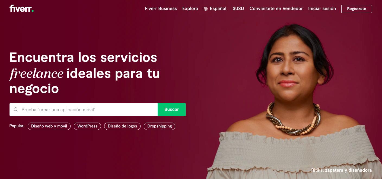 Página principal de Fiverr en español