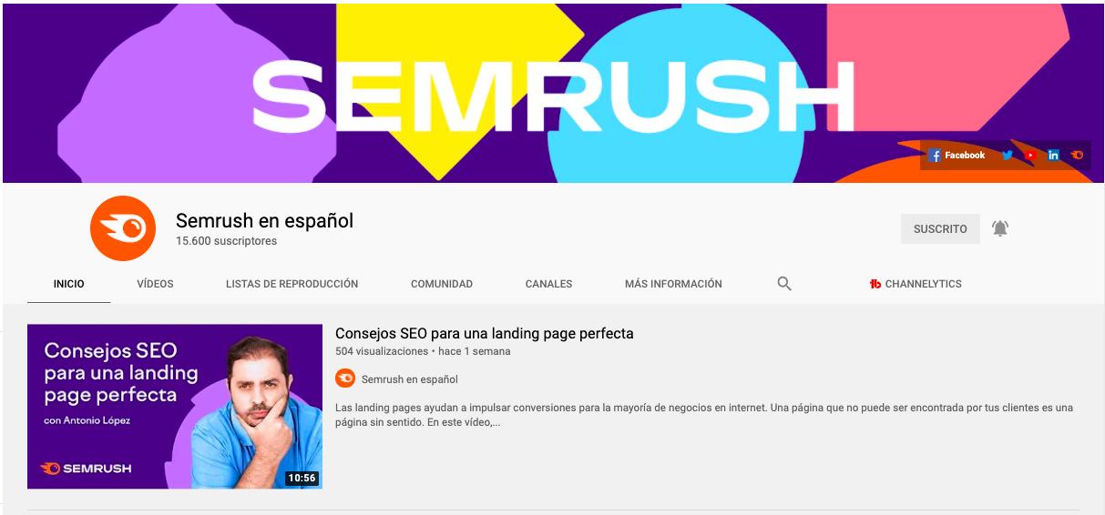 Portada de canal de SEMrush en español