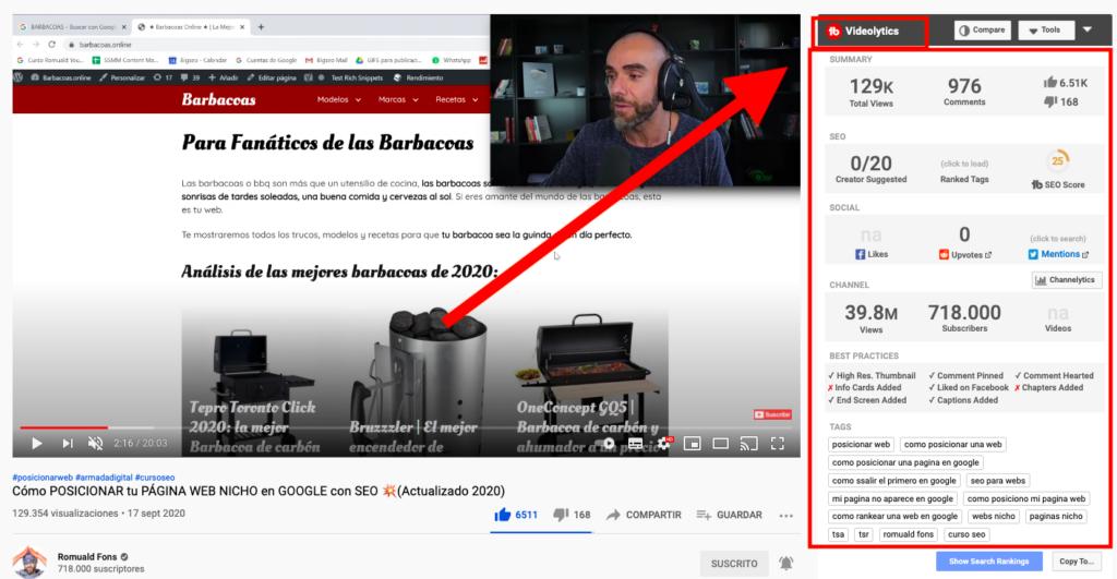 Cómo ver palabras clave en videos de YouTube con TubeBuddy
