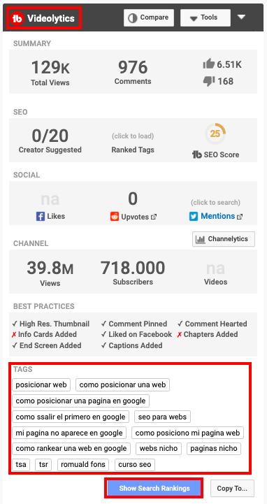 Ver estadísticas de un video en YouTube con TubeBuddy