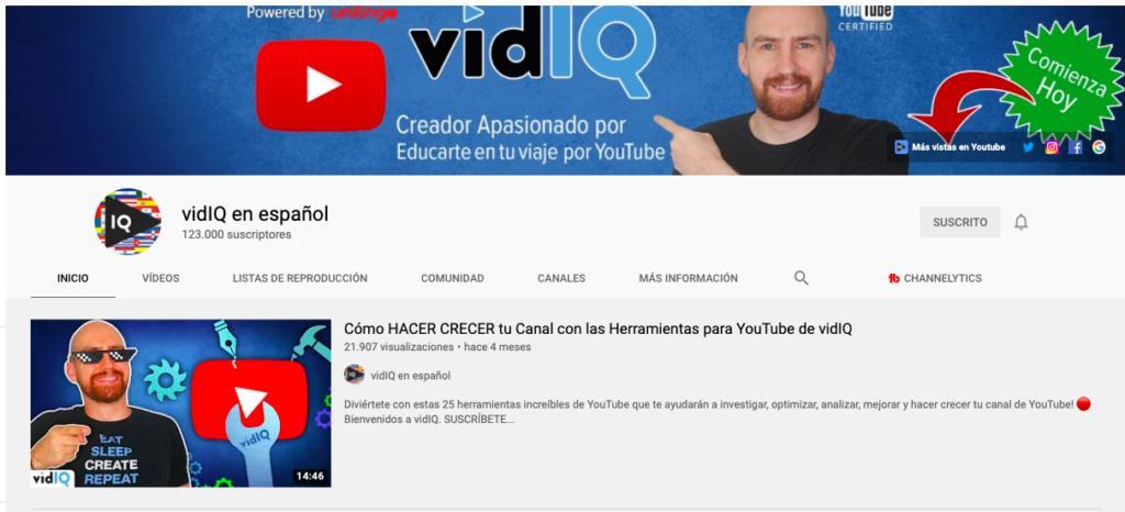 Portada de Canal de VidIQ en español en YouTube