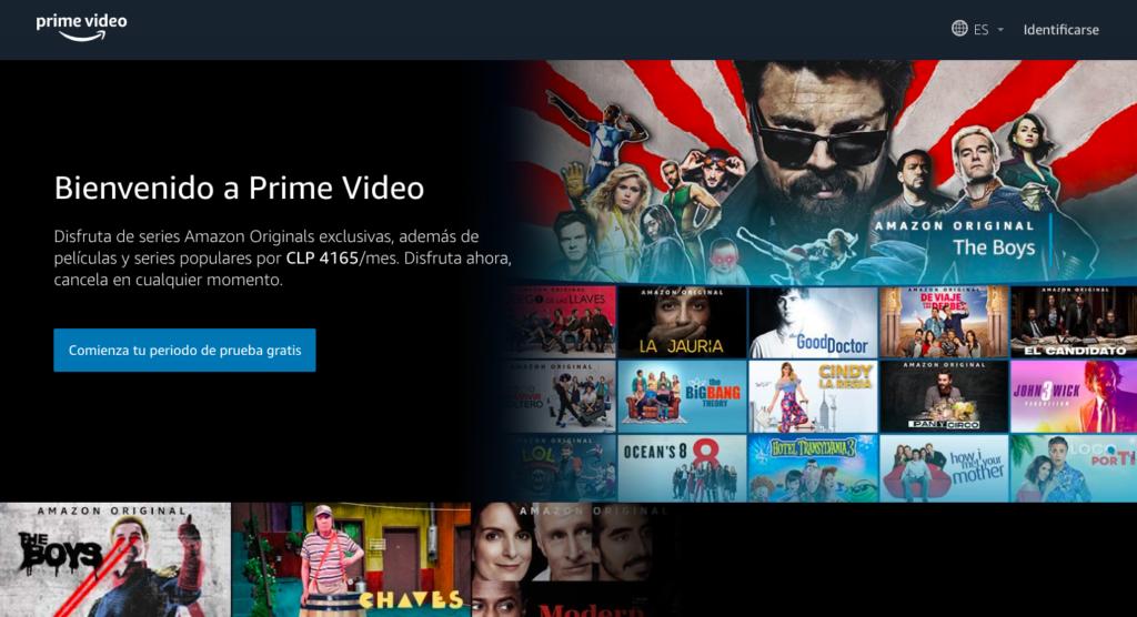 Amazon Prime ejemplo de una landing page