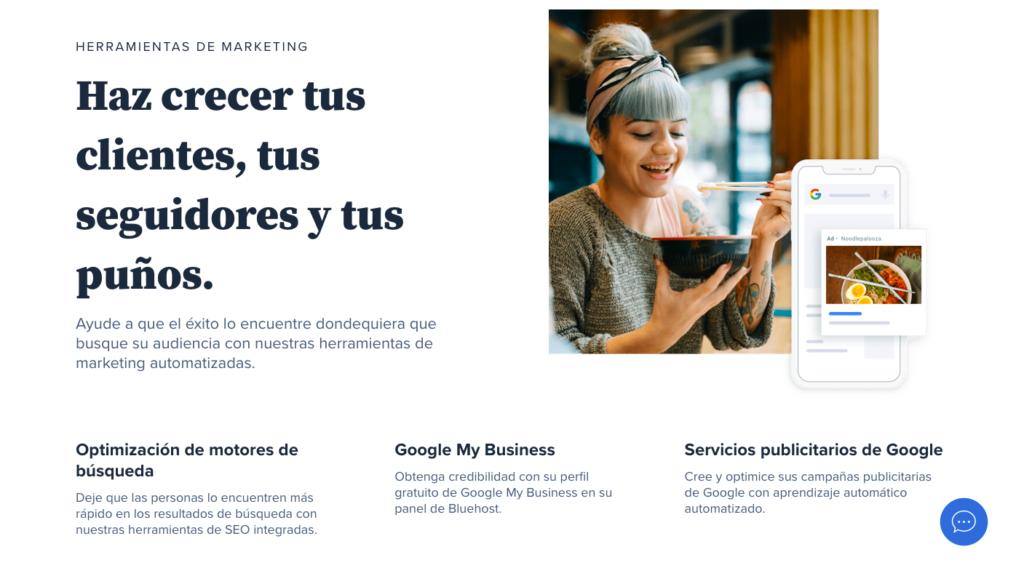 Herramientas de marketing en Bluehost