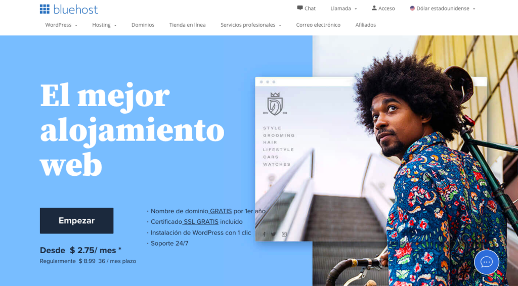 Bluehost página de inicio