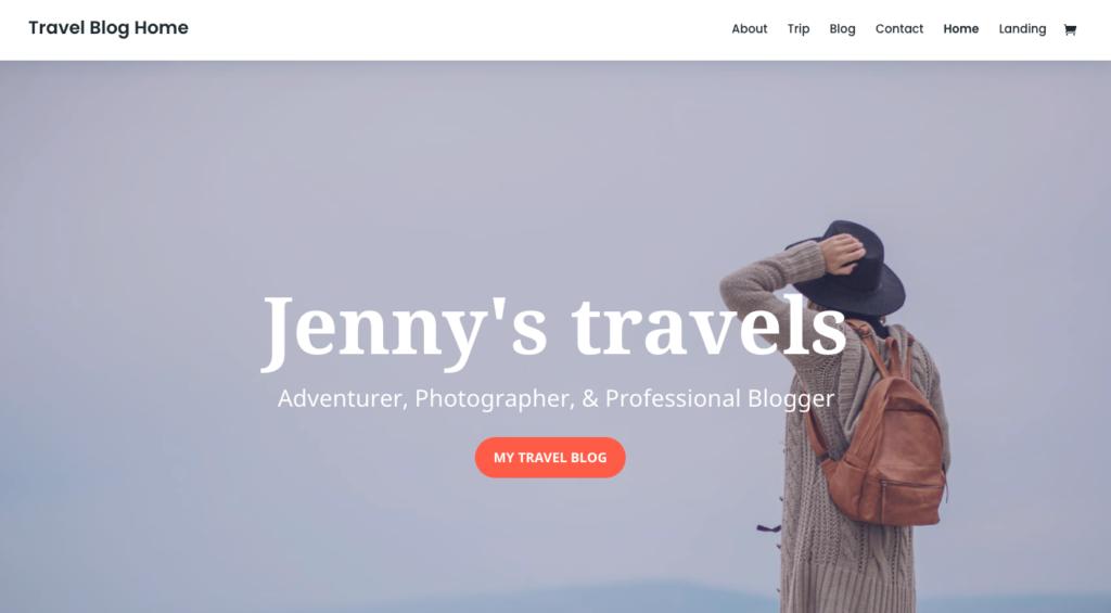 Divi plantilla de blog de viajes