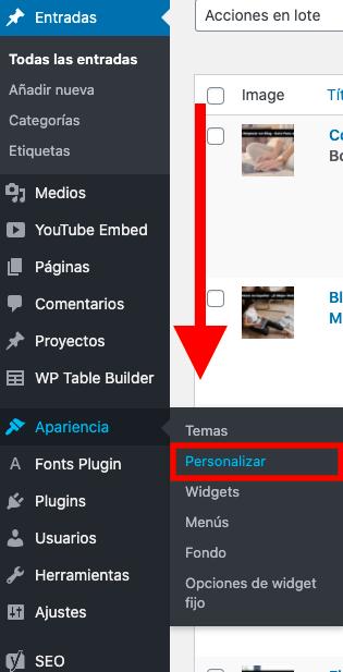 Personalizar apariencia en WordPress