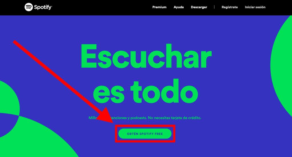 Spotify botón de suscripción