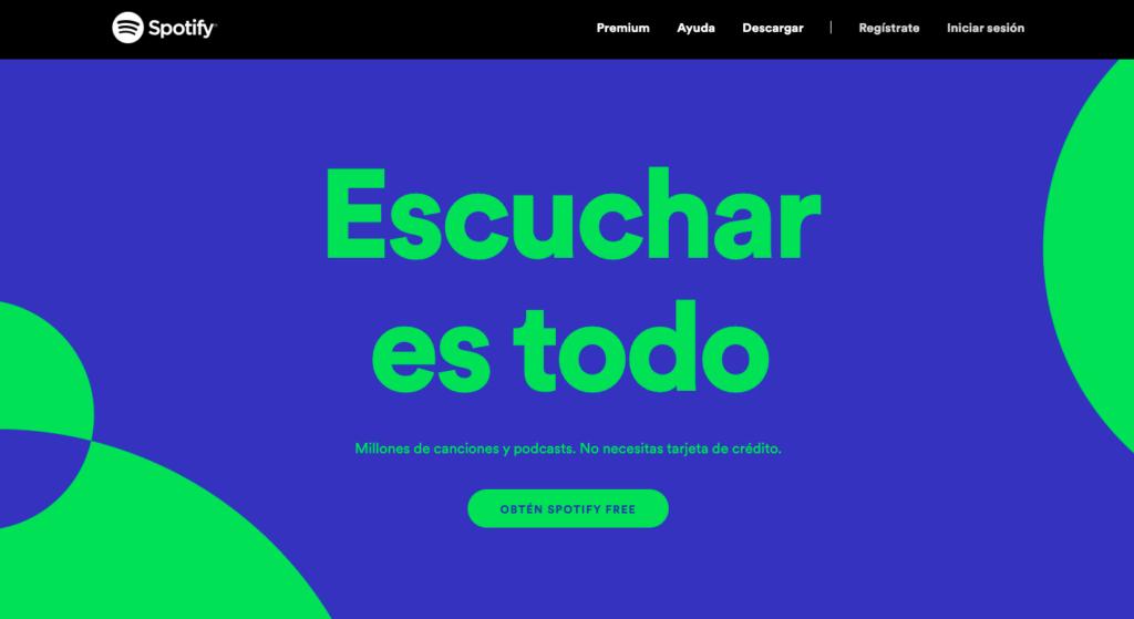 Spotify página de destino