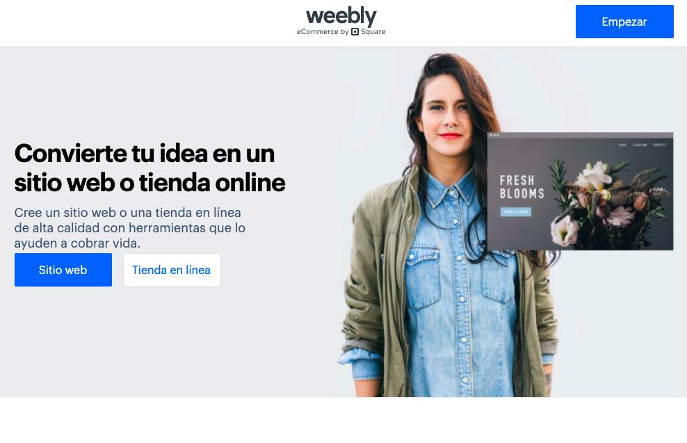 Weebly página principal