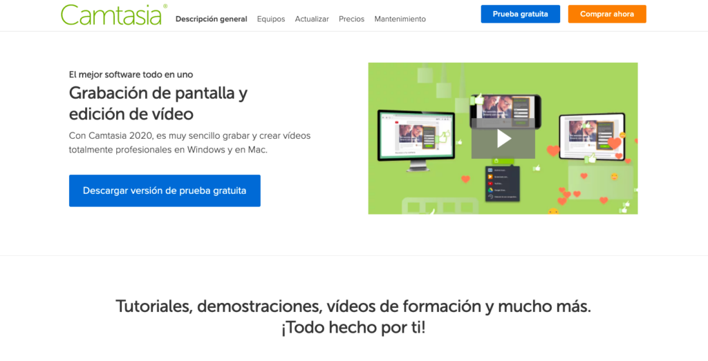 Camtasia en español página principal