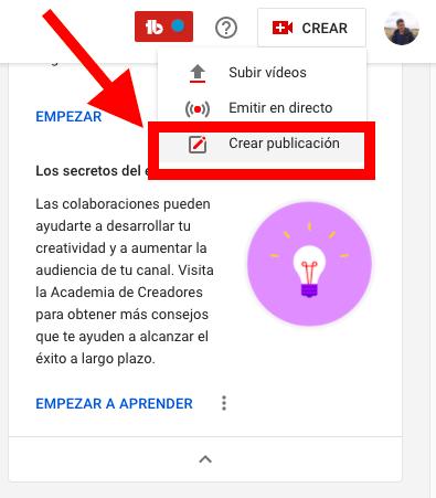 Crear publicación en YouTube