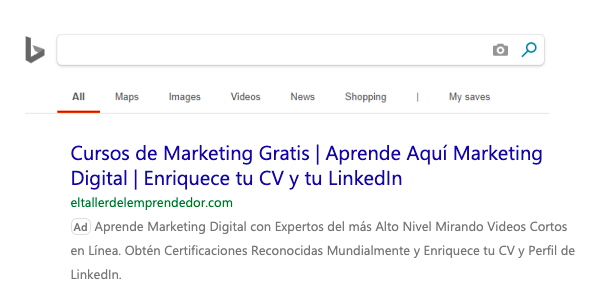 Anuncio PPC de una campaña SEM en Bing Ads