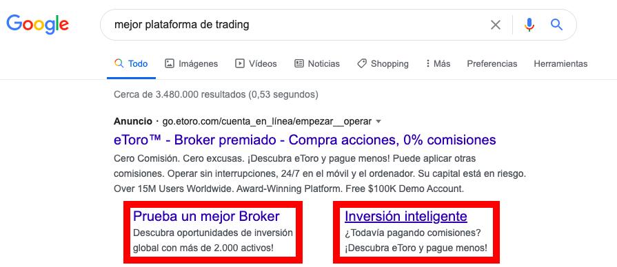 Ejemplo de extensión de enlace en anuncios de Google