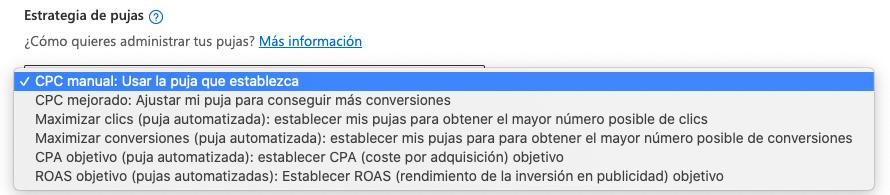 Estrategia de pujas en campaña de SEM en Bing Ads