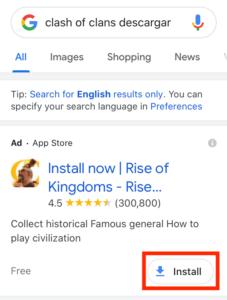 Extensiones para instalar app en Google Ads