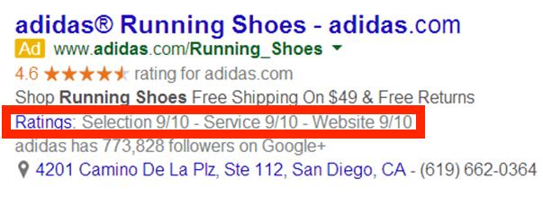 Extensiones de calificaciones de clientes en Google Ads