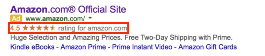 Extensiones de calificación de vendedor en Google Ads