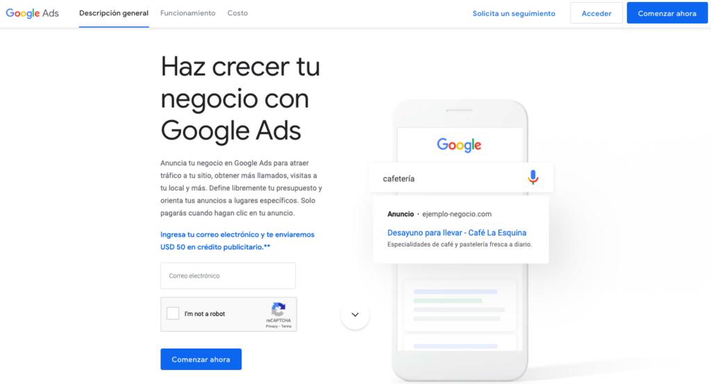 Google Ads página principal