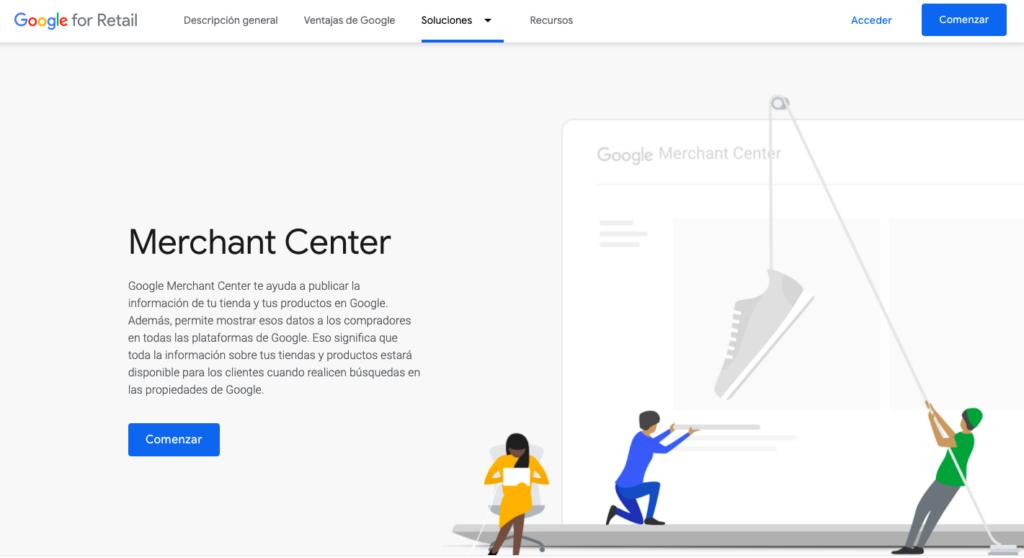 Google Merchant Center Página Principal