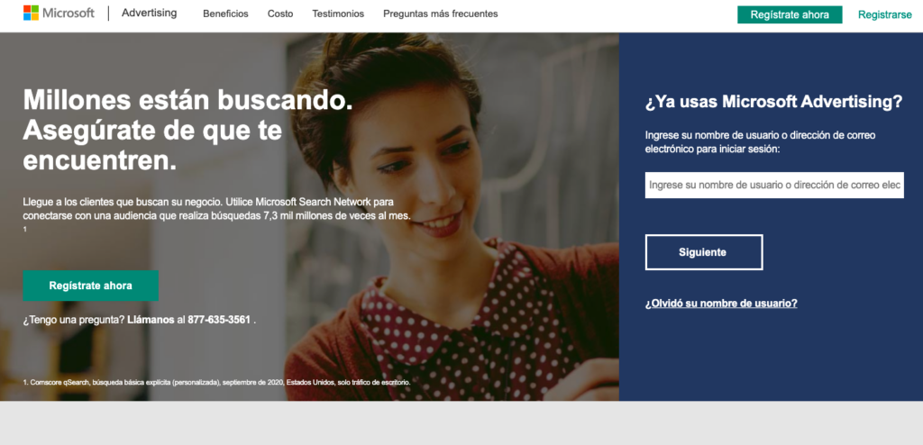 Microsoft Advertising página principal