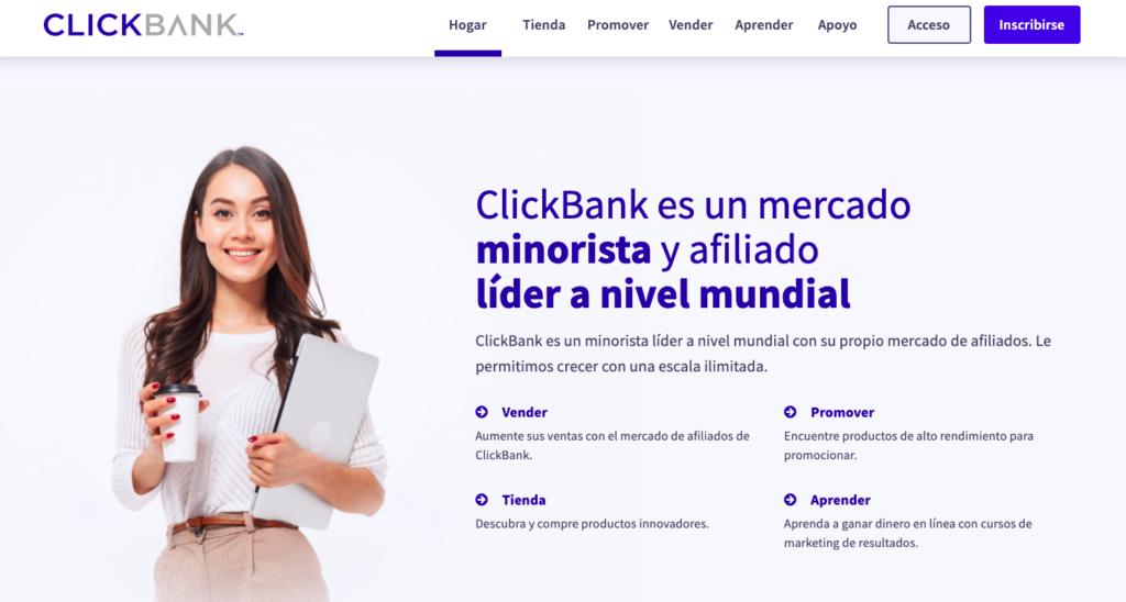 ClickBank página principal de red de afiliados