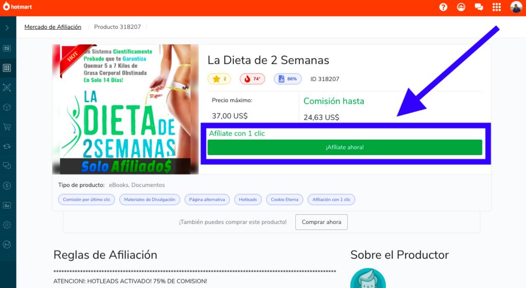 Hotmart solicitud de afiliación para vender un producto