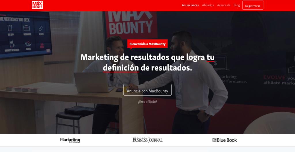 MaxBounty página principal de red de afiliados