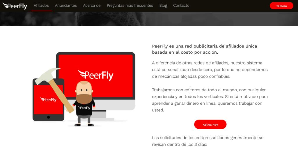 Peerfly página principal de la red de afiliados