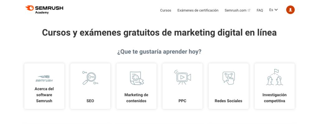 SEMrush Academy en Español página principal